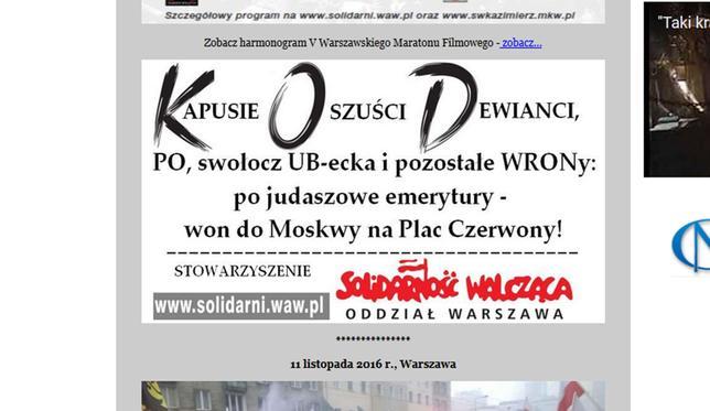 Ilustrację zbroszury Stowarzyszenie Solidarność Walcząca Oddział Warszawa prezentuje także naswojej stronie internetowej