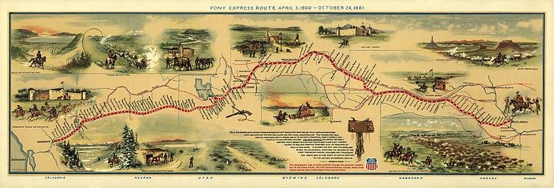 Ilustrowana mapa drogi Pony Express wroku 1860, rysował William Henry Jackson, obecnie wposiadaniu Biblioteki Kongresu USA