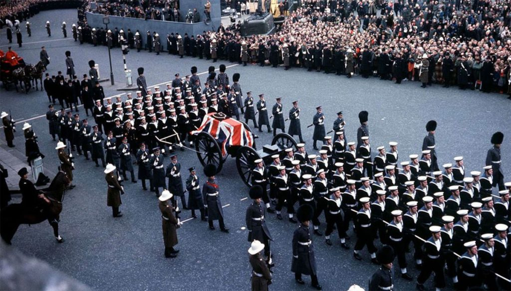 Churchill's cortege in London during the funeral
