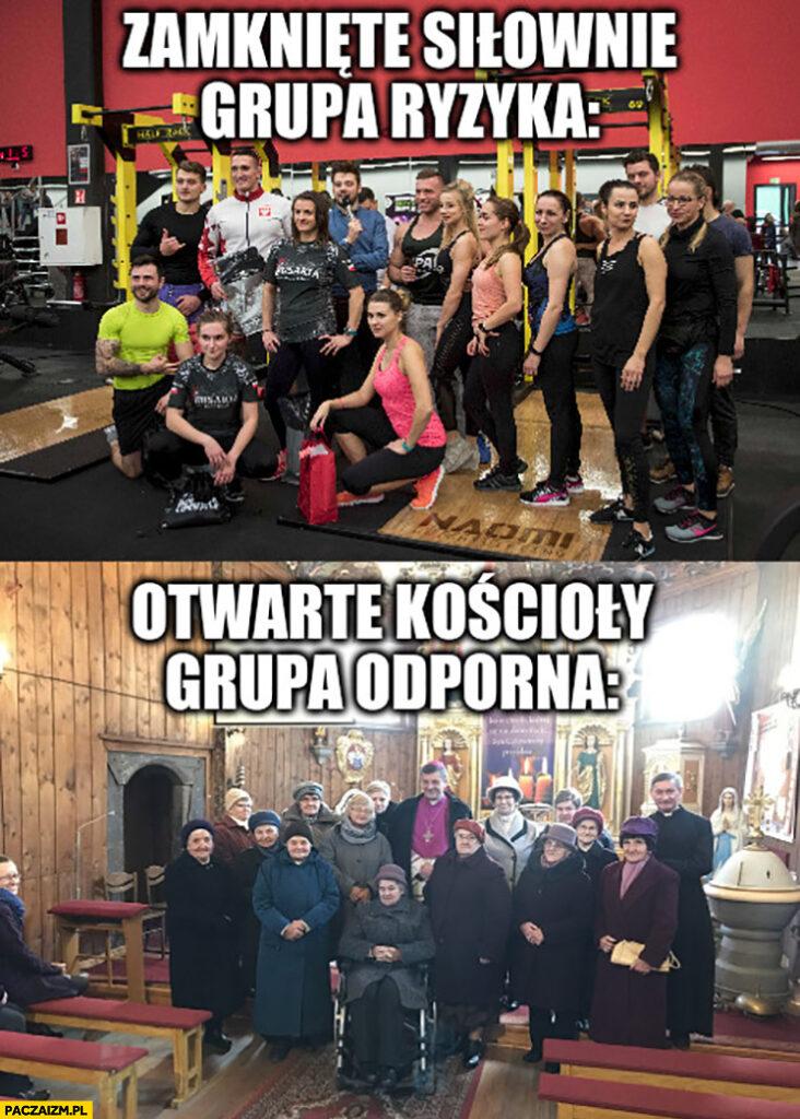 Zamknięte siłownie grupa ryzyka, otwarte kościoły grupa odporna covid koronawirus
