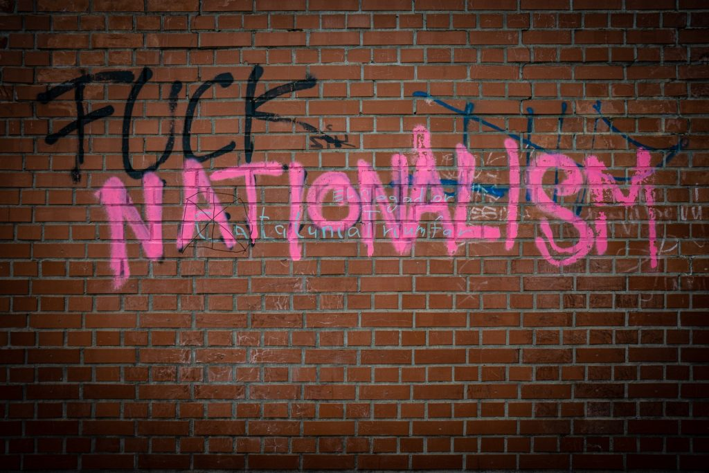 brick wall with nationalism paint